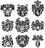 Set of heraldic silhouettes No3 Stock Photo