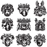 Set of heraldic silhouettes No5 Stock Photo