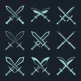 Set of heraldic swords and sabres for heraldry design vector Royalty Free Stock Photos