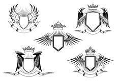 Set of heraldic winged shields Royalty Free Stock Images