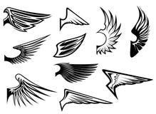 Set of heraldic wings Stock Photography