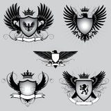 Set of heraldry winged shield Stock Photo