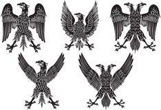 Set heraldyczni czarni orły również zwrócić corel ilustracji wektora Zdjęcie Stock