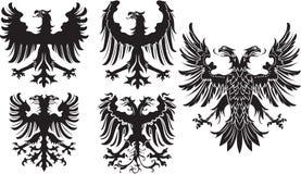 Set heraldyczni czarni orły również zwrócić corel ilustracji wektora Obrazy Royalty Free