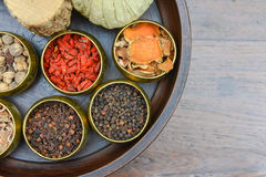 A set of herb for spa therapy Royalty Free Stock Image