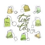 Set herbaciane torby i literowanie fotografia royalty free