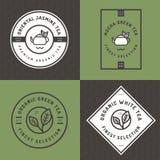Set herbaciany logo, odznaki, sztandary, emblemat dla herbata sklepu w liniowym stylu z liścia bezszwowym deseniowym tłem Organic Zdjęcie Stock