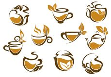 Set of herbal tea icons Stock Photos