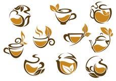 Set of herbal tea icons Stock Photos