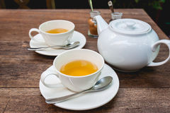 Set herbata na drewnie Obrazy Royalty Free