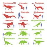 Set of herbivores and carnivorous dinosaurs. Vector image. Set of herbivores and carnivorous dinosaurs. EPS10 stock illustration