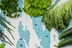 Set herbs for salad. Old table. Top view Royalty Free Stock Image