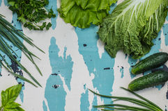 Set herbs for salad. Old table. Top view Stock Images