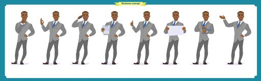 Set of heroes business man presenting in various action.Happy young black African men in business suit.People character. Set of businessman presenting in stock illustration