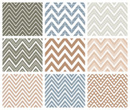 Set of Herringbone Zigzag Seamless Patterns. Set of 9 chevron seamless patterns with zigzags. Can be used for wallpapers, pattern fills, website backgrounds Royalty Free Stock Images