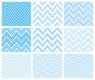 Set of Herringbone Zigzag Seamless Patterns. Set of 9 chevron seamless patterns with zigzags. Can be used for wallpapers, pattern fills, website backgrounds Royalty Free Stock Photo