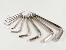 Set of Hex or Allen Wrenches Royalty Free Stock Photos