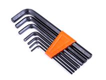Set of hex keys Allen keys. Isolated over white background Royalty Free Stock Photos