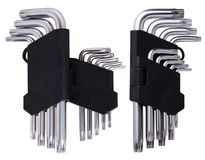Set of Hex keys Allen wrenches in black plastic holder on a white background. stock photo