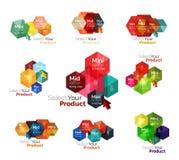 Set of hexagon navigation option diagrams Royalty Free Stock Photography