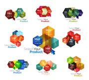 Set of hexagon navigation option diagrams Stock Photo