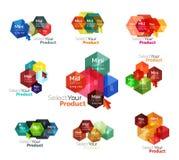 Set of hexagon navigation option diagrams Royalty Free Stock Image