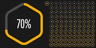 Set of hexagon percentage diagrams from 0 to 100 royalty free stock photography