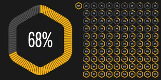 Set of hexagon percentage diagrams from 0 to 100 Stock Photos