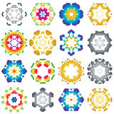 Set of 16 Hexagon star icon colorful. Set of 16 Hexagon star icon rainbow colorful Stock Photos