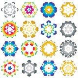 Set of 16 Hexagon star icon colorful Stock Photos