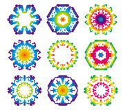 Set of 9 Hexagon star icons. Rainbow color vector illustration
