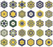 Set of hexagonal colored ornaments in the Moorish style vector illustration