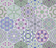 Set from hexagonal lilac patterned tiles. Set of hexagonal patterned tiles. Eastern color pattern for the design of fabric, gift wrapping, floor and wall Royalty Free Stock Photography