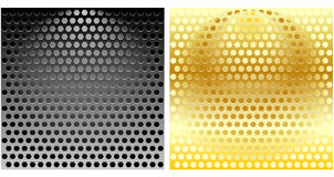 Set of Hexagonal Metal Grills. In silver and gold can be used as backgrounds Stock Photography