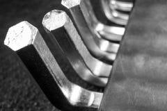 Set of hexagonal metal keys macro, black and white photo. Set of hexagonal metal keys macro, black and white Royalty Free Stock Photography