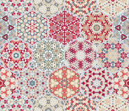 Set of hexagonal patterned tiles. Eastern color pattern for the design of fabric, gift wrapping, floor and wall ceramics. Vector illustration Stock Photo