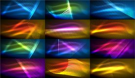 Set of hi-tech futuristic techno backgrounds, neon shapes, waves and lines vector illustration