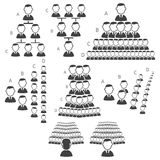 Set of hierarchy icons Stock Image