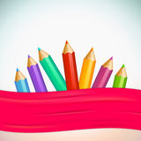 Set of high detailed colored pencils. Idea, banner Stock Photo