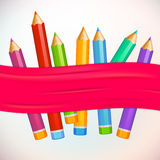 Set of high detailed colored pencils. Idea, banner Royalty Free Stock Image