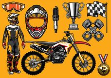 Set of high detailed motocross racing element Royalty Free Stock Images