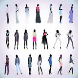 Set of high fashion women colored Royalty Free Stock Image