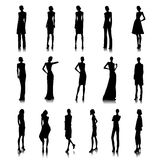 Set of high fashion women. Set of haute couture female silhouettes Royalty Free Stock Image