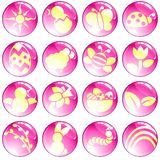 Set of high-gloss pink spring icons. 16 brightly colored spring and easter icons. Graphics are grouped and in several layers for easy editing. The file can be Stock Illustration