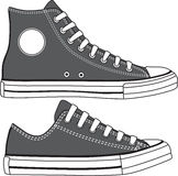 Set of high and low sneakers drawn. Vector Royalty Free Stock Photos