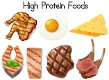A Set of High Protein Food. Illustration royalty free illustration