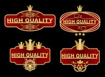 Set of high quality label in dark red and gold design with graphic ornate elements, royal crown, stars. High quality vintage stick Stock Image