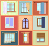 Set of high quality various Vintage Windows with curtains. Vector illustration Royalty Free Stock Photo
