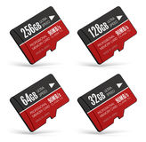 Set of high speed MicroSD flash memory cards Stock Images