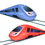 Set of high speed trains  on white background Royalty Free Stock Photo